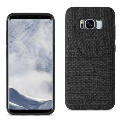 REIKO SAMSUNG GALAXY S8 EDGE/ S8 PLUS ANTI-SLIP TEXTURE PROTECTOR COVER WITH CARD SLOT IN BLACK