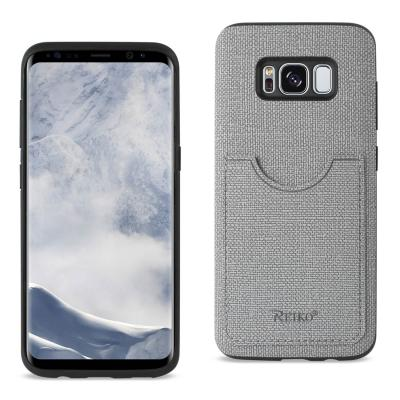 REIKO SAMSUNG GALAXY S8 EDGE/ S8 PLUS ANTI-SLIP TEXTURE PROTECTOR COVER WITH CARD SLOT IN GRAY