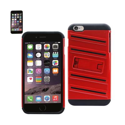 Reiko iPhone 6S Plus/ 6 Plus Hybrid Fishbone Case With Kickstand In Black Red