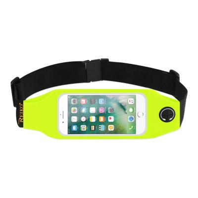 REIKO RUNNING SPORT BELT FOR IPHONE 7/ 6/ 6S OR 5 INCHES DEVICE WITH TWO POCKETS AND LED IN GREEN (5x5 INCHES)