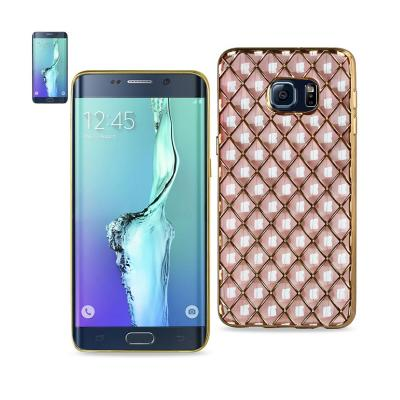REIKO SAMSUNG GALAXY S6 EDGE PLUS FLEXIBLE 3D RHOMBUS PATTERN TPU CASE WITH SHINY FRAME IN PINK
