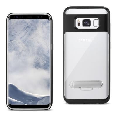 REIKO SAMSUNG GALAXY S8/ SM TRANSPARENT BUMPER CASE WITH KICKSTAND AND MATTE INNER FINISH IN CLEAR BLACK