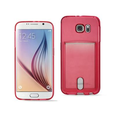 REIKO SAMSUNG GALAXY S6REIKO SEMI CLEAR CASE WITH CARD HOLDER IN CLEAR RED